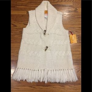Ruby Red Off-White Knit Vest